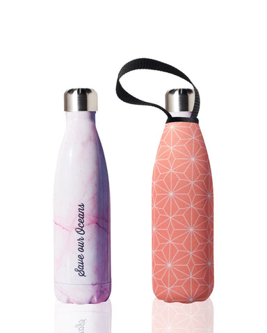 BBBYO Future Bottle + carry cover - stainless steel insulated bottle - 500 ml - Pink star print