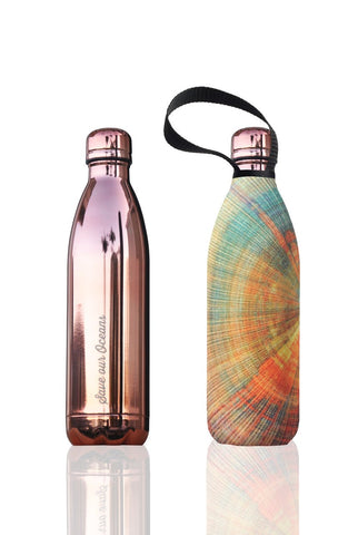 BBBYO Future Bottle + carry cover - stainless steel insulated bottle - 750 ml - Rose Spiral print