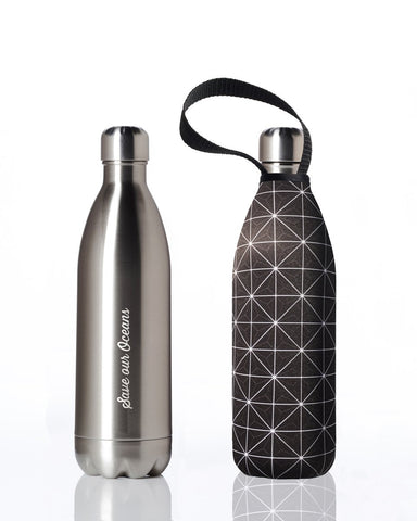 BBBYO Future Bottle + carry cover - stainless steel insulated bottle - 1000 ml - Squared print