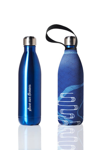 BBBYO Future Bottle + carry cover - stainless steel insulated bottle - 750 ml - Serene print