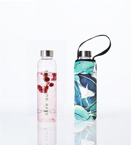 Glass is Greener + carry cover - 570 ml - Banana Leaf print
