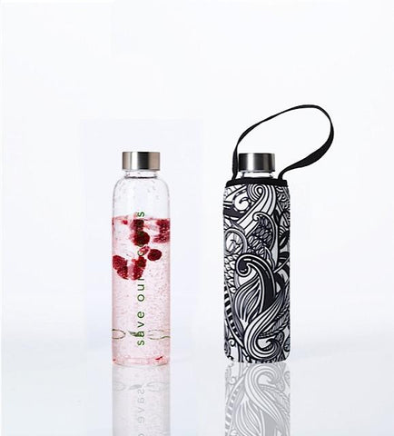 Glass is Greener + carry cover - 570 ml - Koru print
