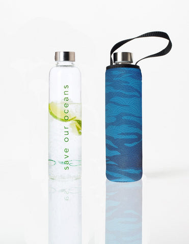 Glass is Greener + carry cover - 750 ml - Sea print