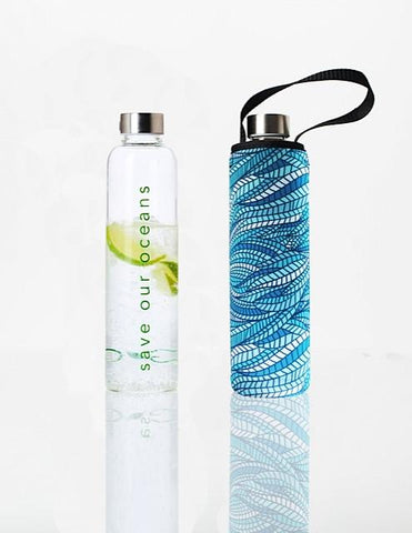 Glass is Greener + carry cover - 750 ml - Sealeaf print