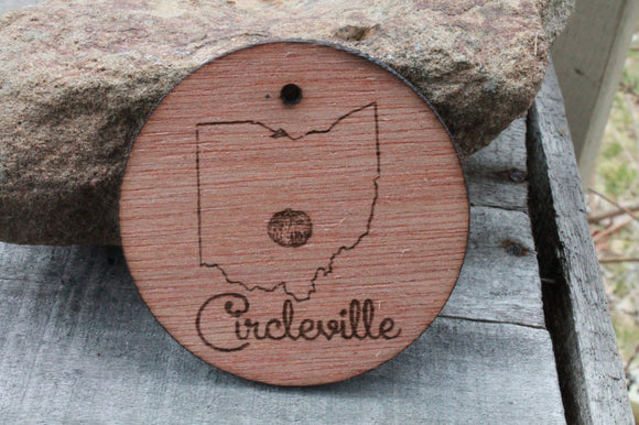 Circleville Ohio Pumpkin  show gift YOUR TOWN Engraved Wood Ornament Key Chain Laser Etching