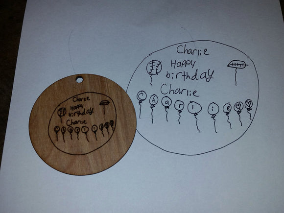 Actual Drawing, Actual Photo, Actual Handwriting, Personalized, Ornament, Kids Drawing,Art, Wood Engraving, FootstepsinthePast