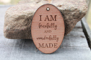 christian ornament for gift I Am Fearfully and Wonderfully Made Engraved Wood Ornament Key Chain Laser Etching