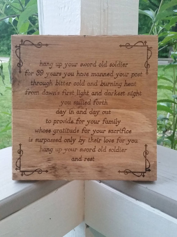 Military Phrase, Phrase, Quote, Personalized, Custom, Sign, Hardwood Hand planned, Laser etched, wood, Personalize,footstepsinthepast