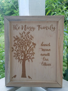 Family Tree Sign, Custom Family, Kids, Grandkids, Personalized Sign, Reclaimed Barn Wood, Custom Sign,FootStepsinthePast, Laser Etched