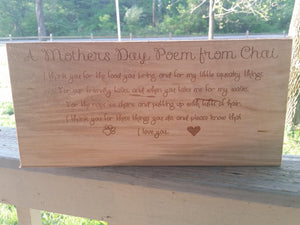 Mothers Day Sign, Custom Mothers Day, From My Dog, Pet Sign, Peronalized Wood Sign, FootStepsinthePast, Primitive, Custom