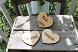 Personalized Coasters, Coaster Set, Wedding Party Gift, Custom Wood, Personalized, laser engraved, place marker heart cut out wooden engrave
