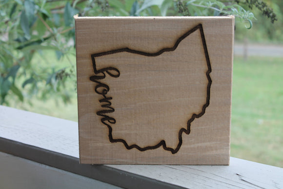 Ohio Sign, Home Sign, Your State,  Custom Word, Sign, Hardwood Hand planned, Laser etched, wood, Personalize,footstepsinthepast