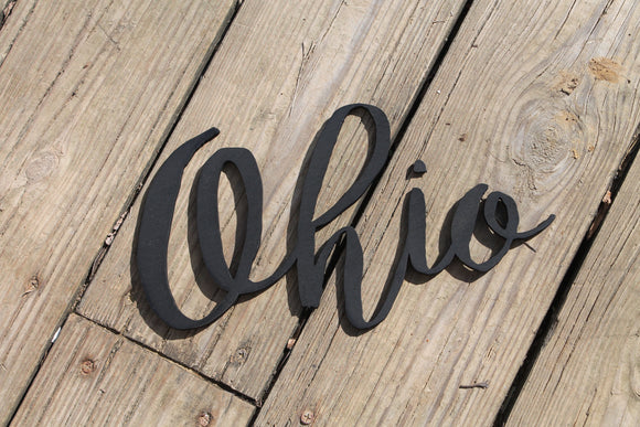 ohio state wood sign wood cut out laser cut script word personalized wooden laser cut word custom present gift go buckeyes for wall
