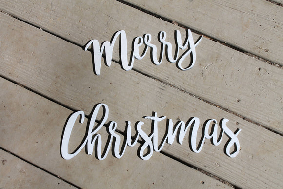 Merry Christmas, Christmas Sign, Script, Words, Wooden Words, Laser Cut Out, Wood Cut Out, Custom Word Art, Personalize, Footstepsinthepast
