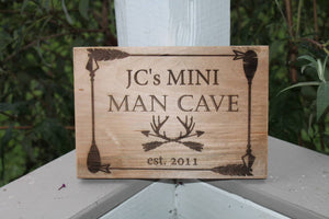 Mini Man Cave, Man Cave, Nursery Wall Art, Boys Sign, Personalized, Reclaimed Barn Wood, Custom Sign,FootStepsinthePast, Laser Etched