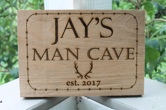 personalized Man cave sign great gift for him barbed wire and antlers very manly with established date solid wood footsteps in the past