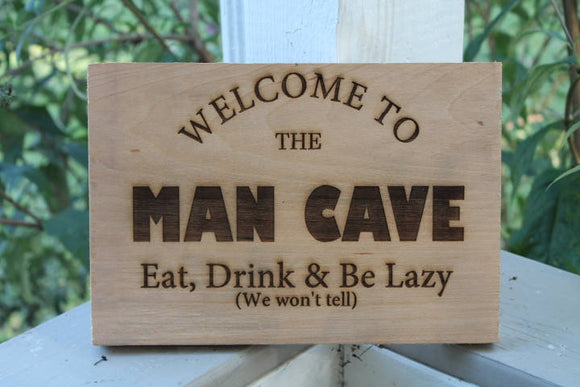 personalized man cave sign great gift for men on solid wood art decor plaque rustic manly  footsteps in the past