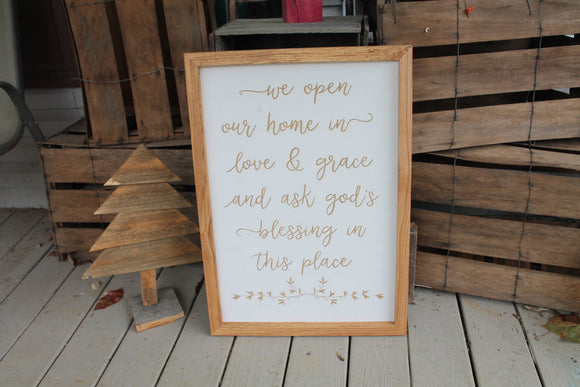 Love and Grace, Blessed Sign, Religious, Gift for Pastor, Welcoming Sign, Open Our Home, House Warming Gift, Large, Country Primitive