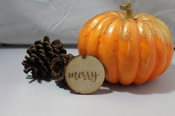 Merry, Your Custom Word, Christmas Ornament, Custom Ornament, Laser Engraved, Wood Cut Out, Footstepsinthepast