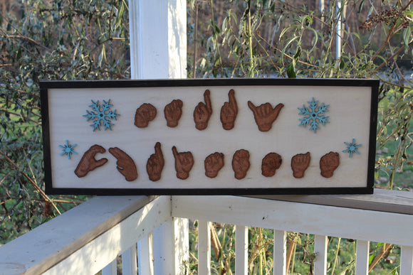 American Sign Language, ASL, Merry Christmas Sign, for the Deaf, Wood, Hands, 3D Hands,  Laser Cut Outs,Solid Wood Frame, Footstepsinthepast