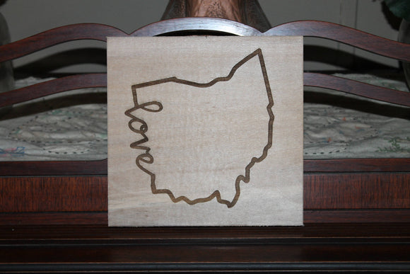 Ohio Sign, Love Sign, Your State,  Custom Word, Sign, Hardwood Hand planned, Laser etched, wood, Personalize,footstepsinthepast