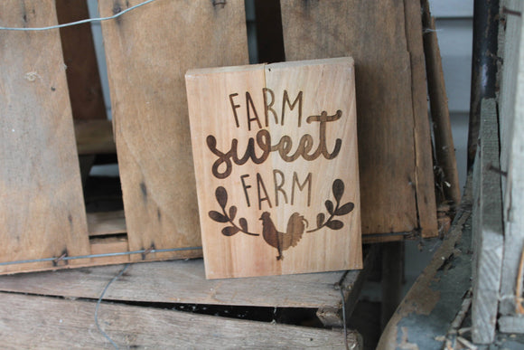 Farm Sweet Farm, Country Sign, Wood Sign, Home Sweet Home, Chicken, Etching, Personalize, Laser Engraved, Footstepsinthepast
