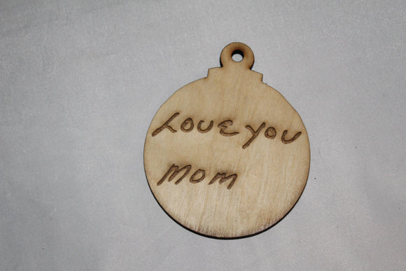 Your Hand Writing, Actual Handwriting, Double Sided, In Memory Of, Personalized Ornament, double sided  Actual Sketch, Wood Engraving