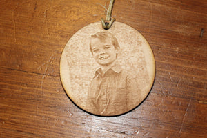 Your Photograph, Actual Photo, Custom, In Memory Of, Personalized Ornament, double sided  Actual Sketch, Wood Engraving, FootstepsinthePast