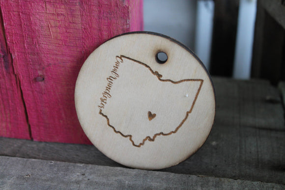 Custom Ohio, Custom Ornament, Canal Winchester, Your City, Your State, Ornament, Laser Engraved, Wood Cut Out, Footstepsinthepast