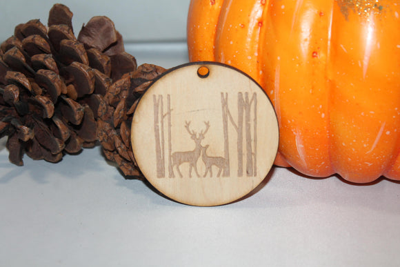 Deer, Deer Family, Birch Trees, Forest,  Customize, Christmas Ornament, Laser Engraved, Wood Cut Out, Footstepsinthepast