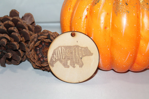 Wild and Free, Bear, Bear Ornament, Adventure, Kids, Customize, Christmas Ornament, Laser Engraved, Wood Cut Out, Footstepsinthepast