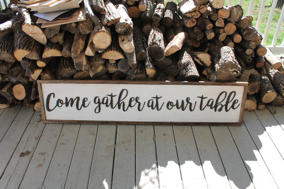 come gather at our table sign Large framed wood five foot shabby chic rustic motif farmhouse come gather at our table white washed and ebony