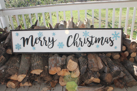 Large Merry Christmas Sign, Merry Christmas, Snowflakes, Merry sign, Farm House, Sign, wood, rustic, Cut Out Words, decoration farmhouse