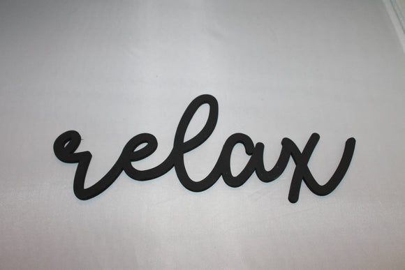 Relax, Relax Sign, Calm,  Word Sign, Wooden Words, Laser Cut Out, Wood Cut Out, Custom Word Art, Personalize, Footstepsinthepast