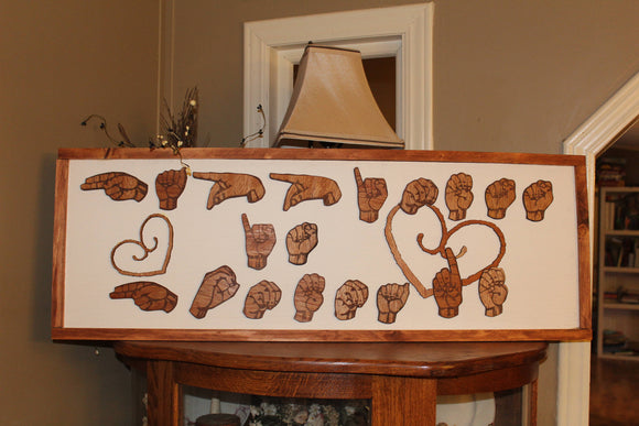 American Sign Language, ASL, Happiness is Homemade, Sign for the Deaf, Wood, Hands, 3D Hands, Frame, wood cut outs Footstepsinthepast
