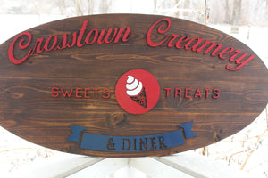 Large Custom Business Sign, Ice Cream Shop, Oval, We Use Your Graphic and Colors, Business Logo, 3D, Large, Wood, Sign Footstepsinthepast