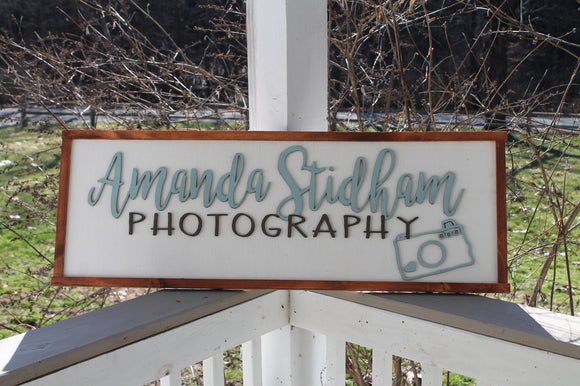 Large Custom wood sign for Photography Business logo We Use Your Graphic and Colors, Wood, Laser Cut Out, 3D, Extra Large, Sign, Camera