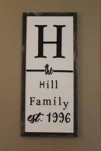 Family Name Sign, last name sign ,Established, Customize, Large, 3D, Wood, Laser Cut Out, Extra Large, Sign, custom personalized black white