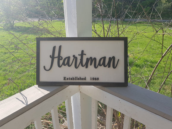Established Sign, Family Name Sign, Name Sign, Wedding Gift, 3D Cut Out, Frame, Custom, Farmhouse Country  Primitive wood FootstepsinthePast