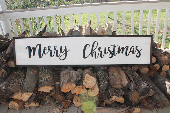 Large Merry Christmas Sign, Merry Christmas, Sign, Country, Shabby Chic, Farm House, Sign, wood wooden Cut Out Words, Footstepsinthepast
