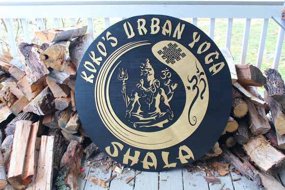 Large round business commercial entrance sign Lord Shiva Health and wellness sign black and gold made to order massage therapist sign décor
