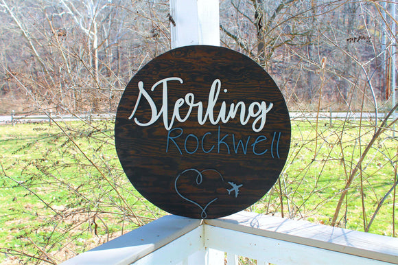 round name sign, baby shower gift,  airplane, large nursery sign, personalized custom baby decor, wall art rustic primitive natural pine