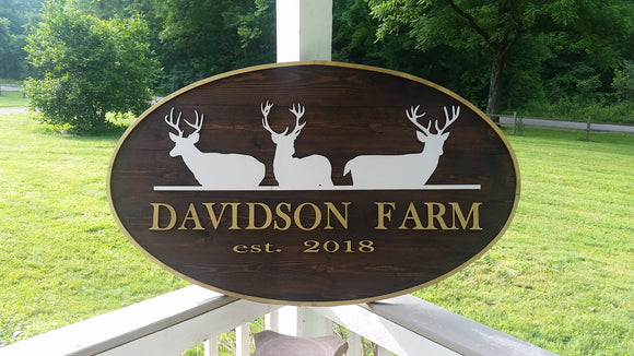 handmade wooden sign wood outdoor Deer Stag business farmhouse farm sign custom personalized with logo my graphic made to order design