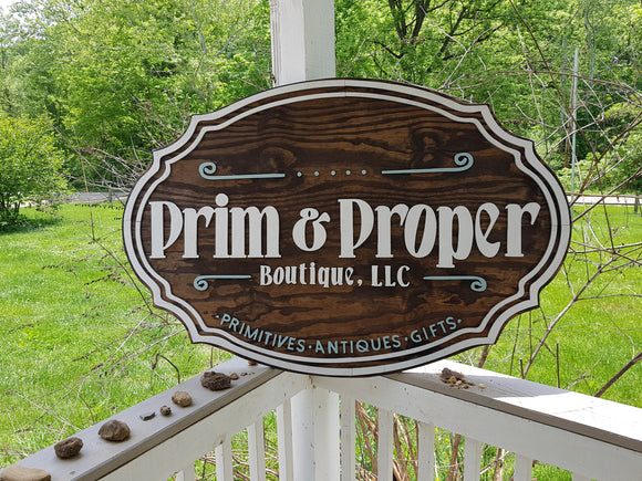 Business Sign, Oval, 3D, Large, Custom, Antique Store, Indoor, Outdoor, Small Business, Logo, Business Logo, Laser Cut, Wood, Sign farmhouse