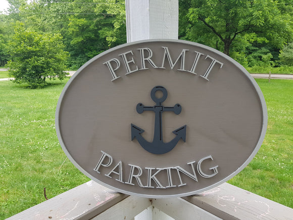 Nautical Sign, Parking Permit Sign, Parking Sign, Anchor Sign, Custom Logo Business Sign, Commercial Sign, Wood, 3D, Sign Footstepsinthepast
