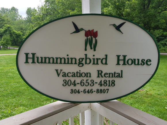Vacation House Sign, Vacation Home Sign, House Rental Sign, B&B, Bed and Breakfast, Handmade, Wooden, Sign, 3D, Exterior, Hummingbird