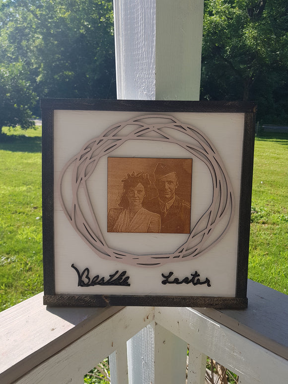 Custom Hoop Wreath, Your Handwriting, Engraved Photo, 3D, Raised Text, Anniversary Gift, Memorial Gift, Wooden, Wood, Handmade, Customize