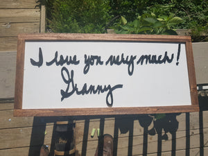 handwriting gift wood sign take your writing and get it cutout of wood and framed great unique for family mom dad brother and sister
