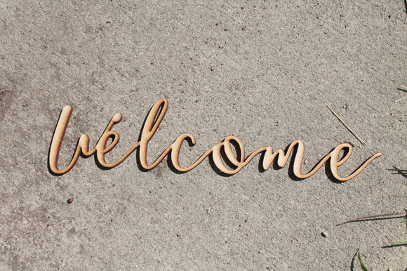 Welcome Sign, Welcome Cutout, Welcome, Welcome Wall Hanging, Welcome DIY, Wood Word, Laser Cut Wood Word, Wooden, Decor, Wreath, Birch