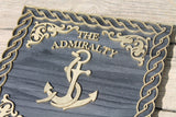 Admiralty Wood Sign, Anchor, Nautical Sign, Navy, Admiral, Captain, Sea, Black and Gold, Indoor, Outdoor Sign, 3D, Wooden, Office